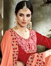 photo of Party Wear Peach Saree In Fancy Fabric With Designer Blouse And Border