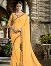 image of Embroidered Border And Blouse On Light Yellow Fancy Fabric Plain Saree