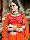 photo of Embroidered Border And Blouse On Orange Fancy Fabric Plain Saree