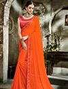 image of Fancy Fabric Orange Designer Saree With Embroidered Blouse And Border