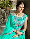photo of Cyan Embroidered Blouse And Border On Fancy Fabric Party Wear Saree