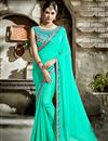 image of Cyan Embroidered Blouse And Border On Fancy Fabric Party Wear Saree