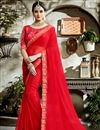 image of Embroidery Designs On Blouse And Border In Red Fancy Fabric Saree