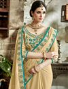 photo of Fancy Fabric Beige Saree With Embroidered Border And Blouse