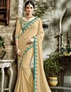 image of Fancy Fabric Beige Saree With Embroidered Border And Blouse