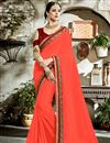 image of Salmon Color Fancy Fabric Party Wear Saree With Embroidered Blouse And Border