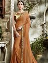 image of Embroidered Blouse And Border On Coffee Color Saree In Fancy Fabric
