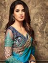 photo of Sky Blue Embroidered Georgette Sangeet Wear Saree with Designer Blouse