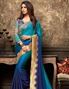 image of Eid Special Embroidery Work On Sky Blue Georgette Reception Wear Saree With Blouse