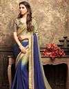 image of Eid Special Embroidery Designs On Georgette Blue Function Wear Saree With Blouse