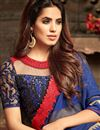 photo of Function Wear Navy Blue Embroidered Saree In Art Silk And Chiffon Fabric With Blouse