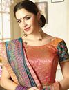 photo of Party Wear Navy Blue Georgette And Art Silk Fancy Saree