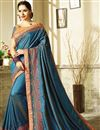 image of Eid Special Embroidered Navy Blue Georgette And Art Silk Fancy Saree