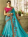 image of Embellished Fancy Saree In Sky Blue Georgette And Art Silk