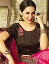 photo of Party Wear Embellished Saree In Brown Georgette And Art Silk