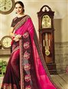 image of Party Wear Embellished Saree In Brown Georgette And Art Silk