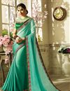 image of Cyan Georgette And Art Silk Embroidered Fancy Saree