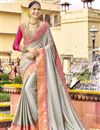 image of Sangeet Function Wear Grey Art Silk Embellished Designer Saree