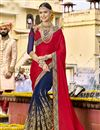 image of Function Wear Georgette Embroidered Designer Saree In Navy Blue