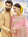 photo of Pink Art Silk Wedding Wear Embellished Heavy Saree