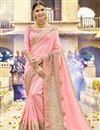 image of Pink Art Silk Wedding Wear Embellished Heavy Saree