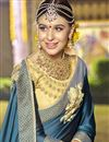 photo of Dark Grey Art Silk Wedding Function Wear Embellished Saree