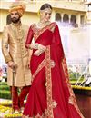 image of Designer Function Wear Red Embroidered Saree In Art Silk