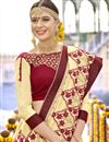 photo of Sangeet Function Wear Art Silk Embellished Designer Saree In Beige