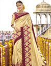 image of Sangeet Function Wear Art Silk Embellished Designer Saree In Beige