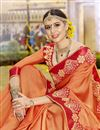 photo of Function Wear Orange Embroidered Designer Saree In Art Silk