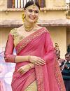 photo of Beige Wedding Wear Georgette Embroidered Designer Saree