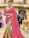 image of Beige Wedding Wear Georgette Embroidered Designer Saree