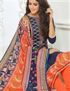 photo of Regular Wear Cotton Salwar Kameez In Navy Blue With Digital Print On Dupatta