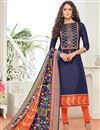 image of Regular Wear Cotton Salwar Kameez In Navy Blue With Digital Print On Dupatta