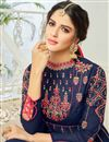 photo of Eid Special Embroidered Navy Blue Georgette Floor Length Function Wear Anarkali Dress