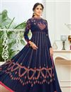 image of Eid Special Embroidered Navy Blue Georgette Floor Length Function Wear Anarkali Dress