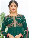 picture of Eid Special Fancy Teal Georgette Embroidered Floor Length Anarkali Salwar Suit