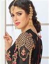 picture of Eid Special Black Embellished Long Wedding Wear Georgette Anarkali Salwar Suit