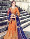 image of Eid Special Orange Function Wear Fancy Art Silk Designer Lehenga