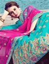 photo of Eid Special Sky Blue Art Silk Embroidered Designer Lehenga Choli