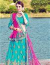 image of Eid Special Sky Blue Art Silk Embroidered Designer Lehenga Choli