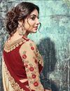 photo of Embroidered Banglori Silk Fancy Designer Saree In Cream