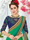photo of Teal Color Art Silk Occasion Wear Saree With Embroidery Work And Blouse