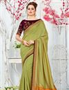 image of Embroidered Khaki Color Art Silk Festive Wear Saree With Heavy Blouse