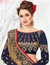 photo of Embroidery Work On Coffee Color Art Silk Designer Saree With Blouse