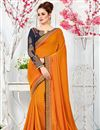 image of Art Silk Orange Occasion Wear Saree With Embroidery Designs On Blouse
