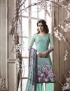 image of Crepe Casual Style Printed Palazzo Salwar Suit In Light Cyan