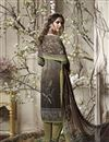 photo of Crepe Printed Churidar Dress In Dark Khaki