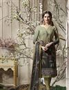 image of Crepe Dark Khaki Printed Dress With Churidar Bottom