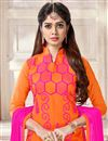 photo of Embroidered Chanderi Fabric Straight Cut Churidar Dress In Orange